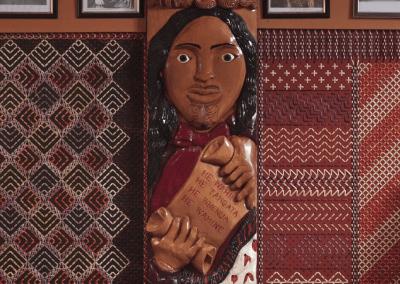 Carving of Makere Te Uruweherua inside Mōrero wharenui